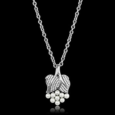 TS165 - Rhodium 925 Sterling Silver Chain Pendant with Synthetic Pearl in White