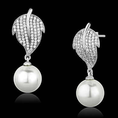 TS166 - Rhodium 925 Sterling Silver Earrings with Synthetic Pearl in White