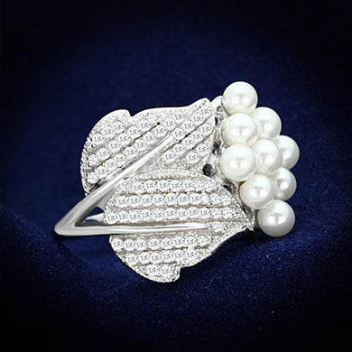 TS167 - Rhodium 925 Sterling Silver Ring with Synthetic Pearl in White