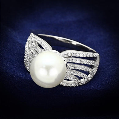 TS169 - Rhodium 925 Sterling Silver Ring with Synthetic Pearl in White