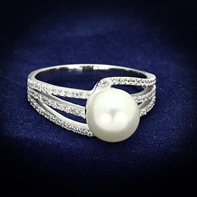 TS170 - Rhodium 925 Sterling Silver Ring with Synthetic Pearl in White