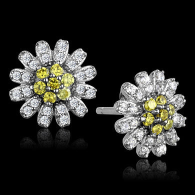 TS286 - Rhodium 925 Sterling Silver Earrings with AAA Grade CZ  in Topaz