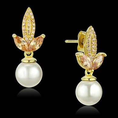 TS298 - Gold 925 Sterling Silver Earrings with Synthetic Pearl in White