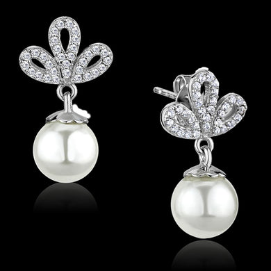 TS299 - Rhodium 925 Sterling Silver Earrings with Synthetic Pearl in White