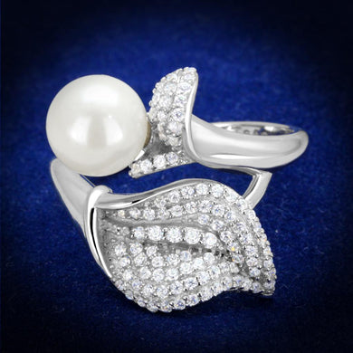 TS329 - Rhodium 925 Sterling Silver Ring with Synthetic Pearl in White