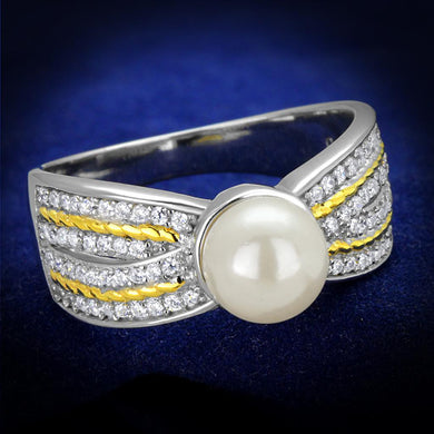 TS377 - Reverse Two-Tone 925 Sterling Silver Ring with Synthetic Pearl in White