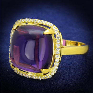TS392 - Gold 925 Sterling Silver Ring with Synthetic Synthetic Glass in Amethyst