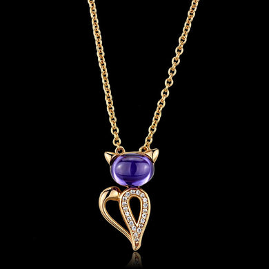 TS408 - Rose Gold 925 Sterling Silver Chain Pendant with AAA Grade CZ  in Amethyst