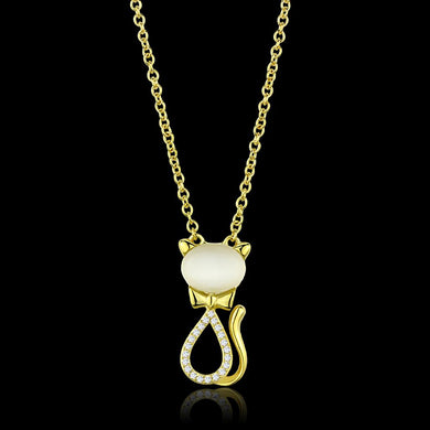 TS409 - Gold 925 Sterling Silver Chain Pendant with Synthetic Cat Eye in White
