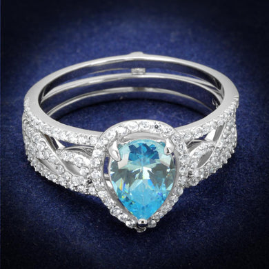 TS453 - Rhodium 925 Sterling Silver Ring with AAA Grade CZ  in Sea Blue