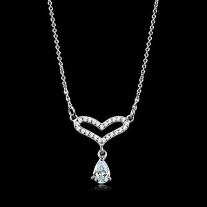 TS484 - Rhodium 925 Sterling Silver Necklace with AAA Grade CZ  in Clear