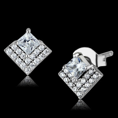 TS493 - Rhodium 925 Sterling Silver Earrings with AAA Grade CZ  in Clear