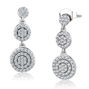 TS494 - Rhodium 925 Sterling Silver Earrings with AAA Grade CZ  in Clear