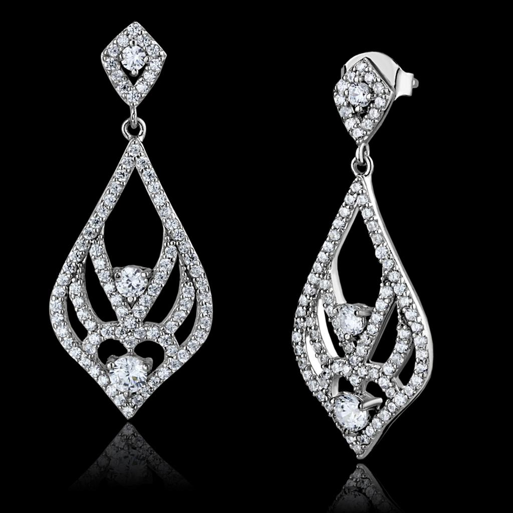 TS497 - Rhodium 925 Sterling Silver Earrings with AAA Grade CZ  in Clear