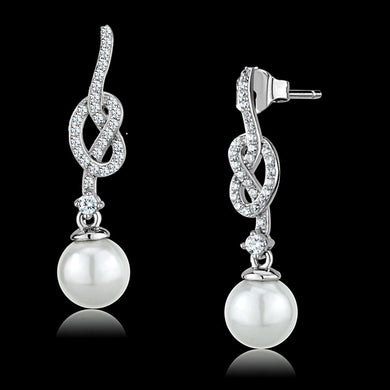 TS506 - Rhodium 925 Sterling Silver Earrings with Synthetic Glass Bead in White