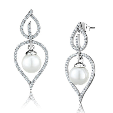TS510 - Rhodium 925 Sterling Silver Earrings with Semi-Precious Glass Bead in White