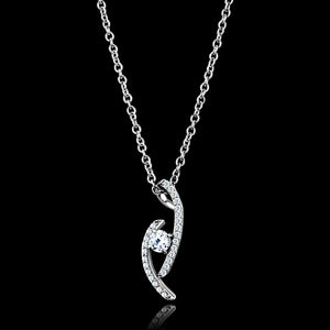 TS515 - Rhodium 925 Sterling Silver Necklace with AAA Grade CZ  in Clear