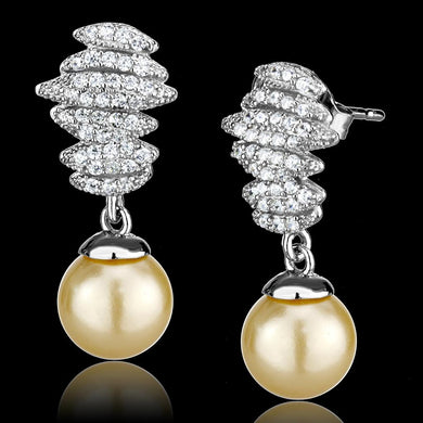 TS531 - Rhodium 925 Sterling Silver Earrings with Synthetic Pearl in Topaz