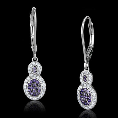 TS532 - Rhodium + Ruthenium 925 Sterling Silver Earrings with AAA Grade CZ  in Amethyst