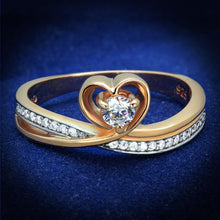 Load image into Gallery viewer, TS544 - Rose Gold + Rhodium 925 Sterling Silver Ring with AAA Grade CZ  in Clear