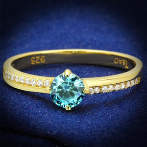 TS561 - Gold 925 Sterling Silver Ring with AAA Grade CZ  in Sea Blue