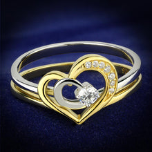 Load image into Gallery viewer, TS565 - Gold+Rhodium 925 Sterling Silver Ring with AAA Grade CZ  in Clear