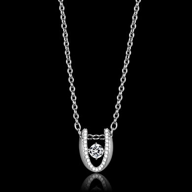 TS572 - Rhodium 925 Sterling Silver Necklace with AAA Grade CZ  in Clear