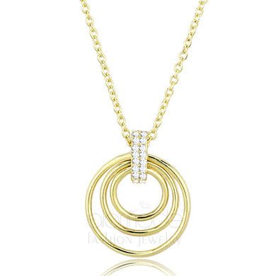TS601 - Gold 925 Sterling Silver Necklace with AAA Grade CZ  in Clear