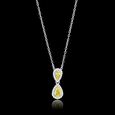 TS606 - Rhodium 925 Sterling Silver Chain Pendant with AAA Grade CZ  in Topaz