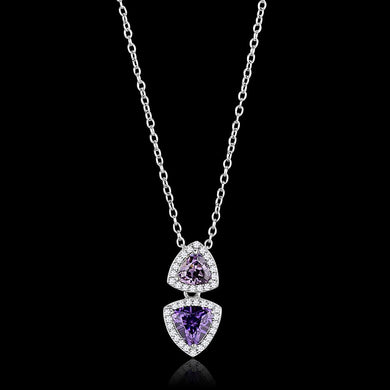 TS607 - Rhodium 925 Sterling Silver Chain Pendant with AAA Grade CZ  in Amethyst