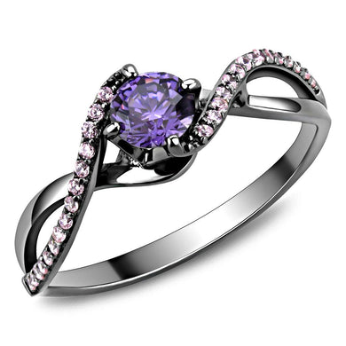 TS610 - Ruthenium 925 Sterling Silver Ring with AAA Grade CZ  in Amethyst
