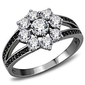 TS611 - Ruthenium 925 Sterling Silver Ring with AAA Grade CZ  in Clear