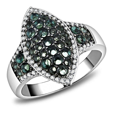 TS614 - Rhodium + Ruthenium 925 Sterling Silver Ring with Synthetic Synthetic Glass in Blue Zircon