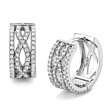 Load image into Gallery viewer, TS617 - Rhodium 925 Sterling Silver Earrings with AAA Grade CZ  in Clear