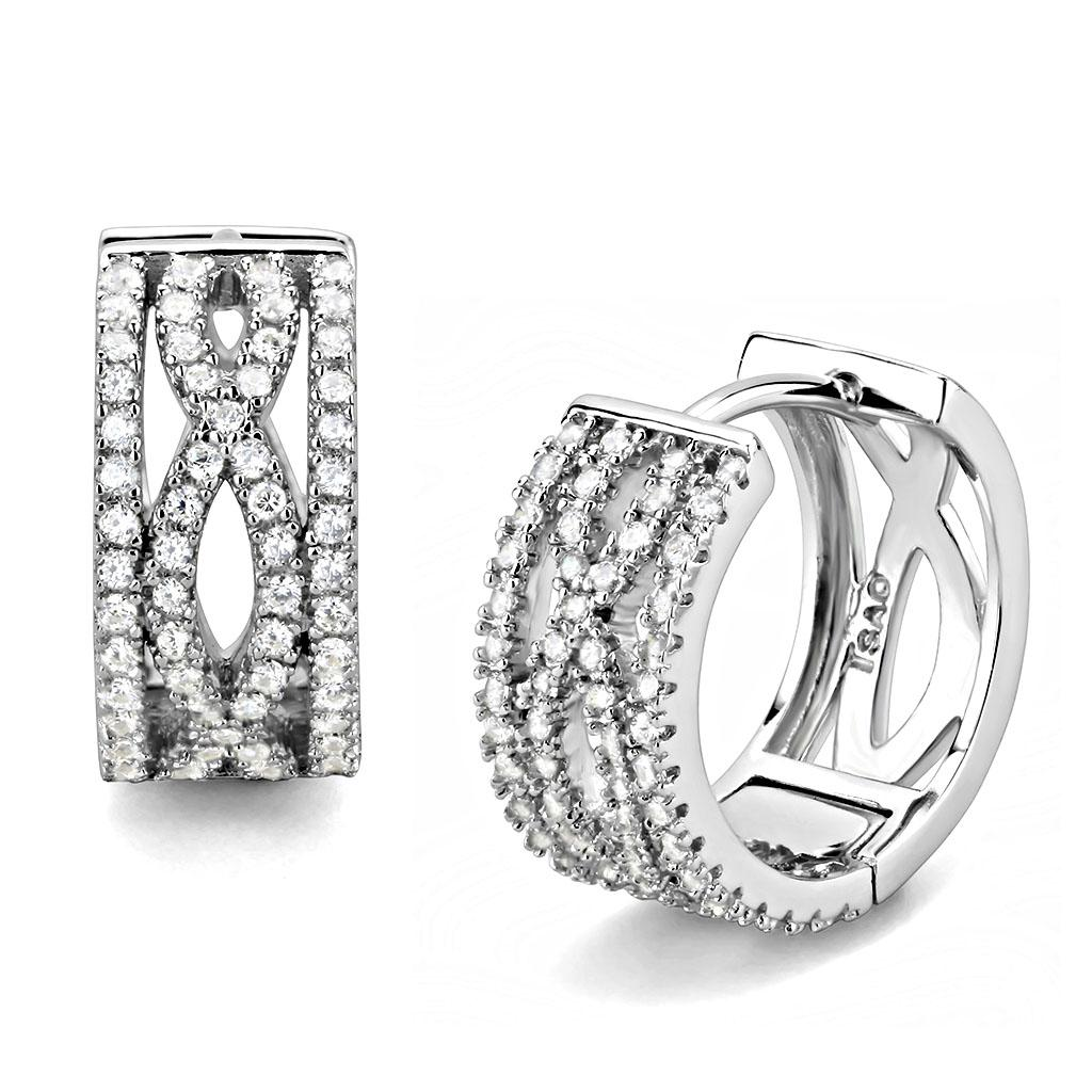 TS617 - Rhodium 925 Sterling Silver Earrings with AAA Grade CZ  in Clear