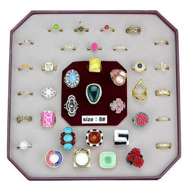 VK-037-SIZE8 - Assorted Brass Ring with Assorted  in Assorted