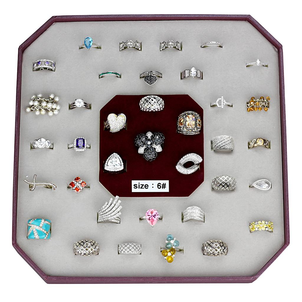 VK925-001-SIZE6 - Assorted 925 Sterling Silver Ring with Assorted  in Assorted
