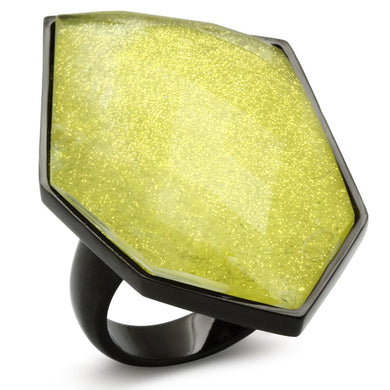 VL001 - IP Black(Ion Plating) Brass Ring with Synthetic Synthetic Stone in Apple Green color