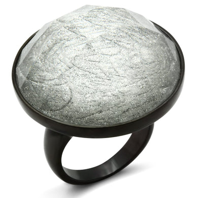 VL003 - IP Black(Ion Plating) Brass Ring with Synthetic Synthetic Stone in Light Gray