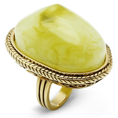 VL005 - IP Gold(Ion Plating) Brass Ring with Synthetic Synthetic Stone in Apple Green color