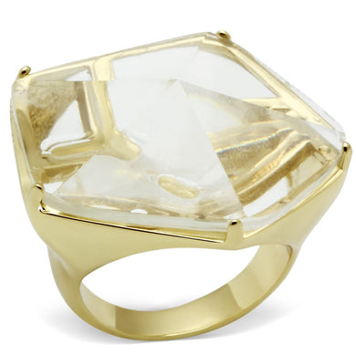 VL007 - Gold Brass Ring with Synthetic Synthetic Stone in Clear