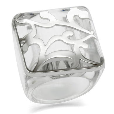 VL012 - Rhodium Brass Ring with Synthetic Synthetic Stone in Clear