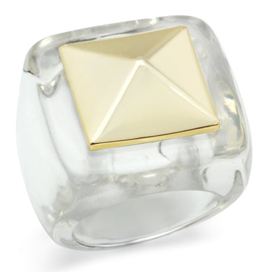 VL015 - Gold Brass Ring with Synthetic Synthetic Stone in Clear