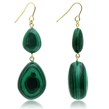 Load image into Gallery viewer, VL019 - Gold Brass Earrings with Synthetic MALACHITE in Emerald