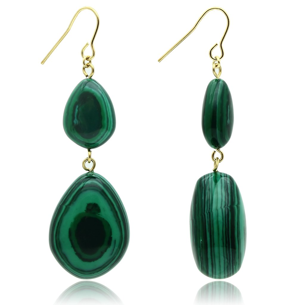 VL019 - Gold Brass Earrings with Synthetic MALACHITE in Emerald
