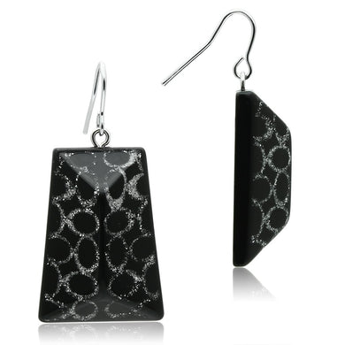 VL020 - IP rhodium (PVD) Brass Earrings with Synthetic Synthetic Stone in Jet