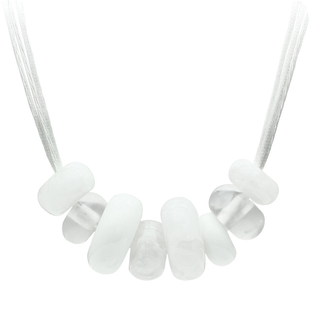 VL024 -  Resin Necklace with Synthetic Synthetic Stone in White