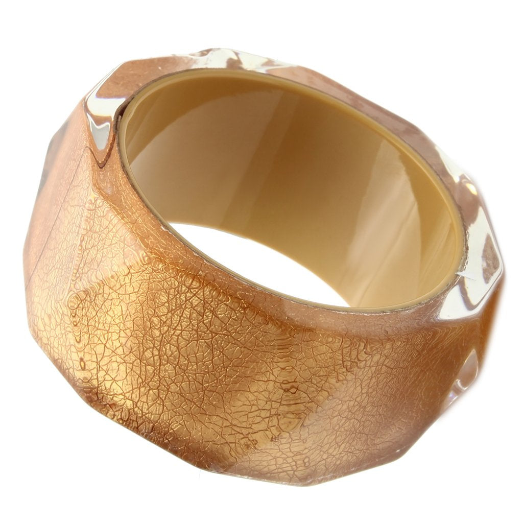 VL027 -  Resin Bangle with Synthetic Synthetic Stone in Brown