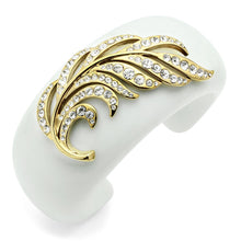 Load image into Gallery viewer, VL028 - IP Gold(Ion Plating) Brass Bangle with Synthetic Synthetic Stone in White