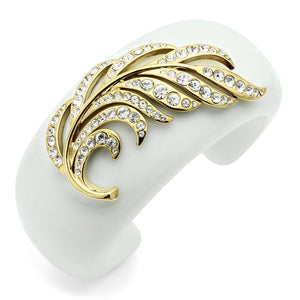 VL028 - IP Gold(Ion Plating) Brass Bangle with Synthetic Synthetic Stone in White
